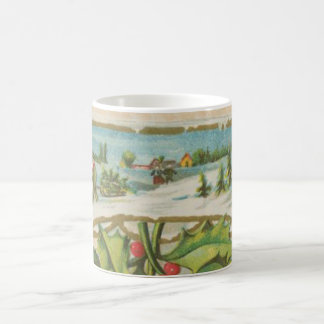 Ventana del acebo del navidad del vintage taza