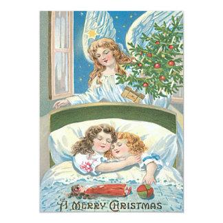"""Ventana del árbol de navidad del ángel el dormir invitación 5"""" x 7"""""""
