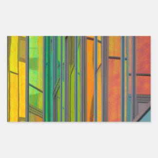 Ventana del arco iris pegatina rectangular
