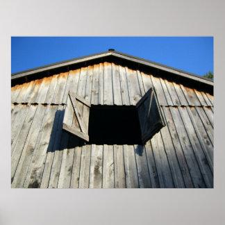 Ventana del granero abierta poster