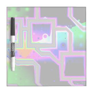 Ventana en el universo, magenta y ciánico abstract tablero blanco