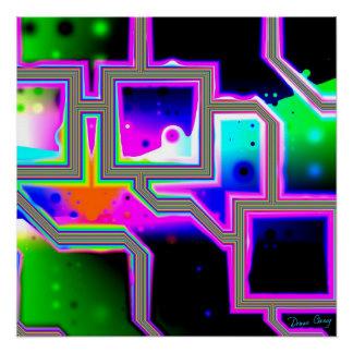 Ventana en el universo, magenta y ciánico abstract