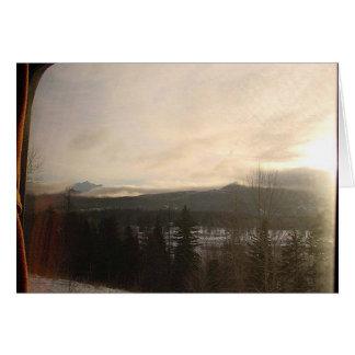 Ventana en un mundo del invierno tarjetas
