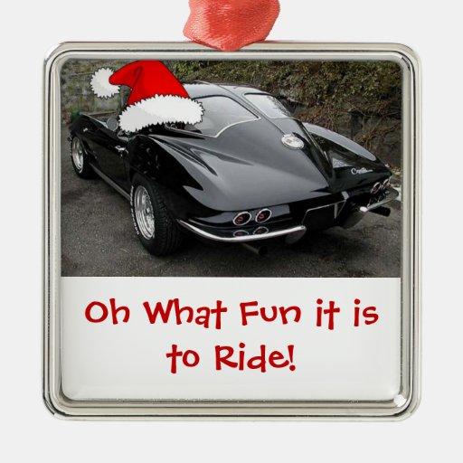 Ventana partida del Corvette del navidad Adorno Cuadrado Plateado