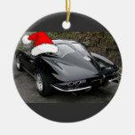 Ventana partida/navidad del negro del Corvette Adornos