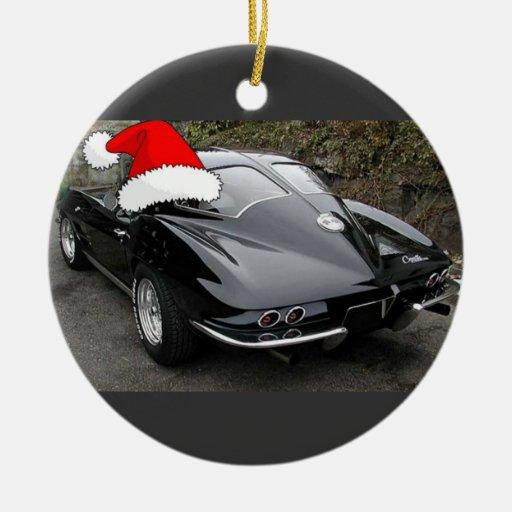 Ventana partida/navidad del negro del Corvette Adorno Redondo De Cerámica