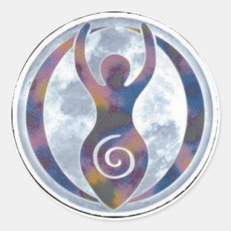 Ventana-Pegatina espiral de la diosa Pegatina Redonda