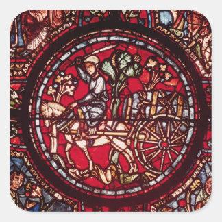 Ventana que representa a un comerciante de vino pegatina cuadrada