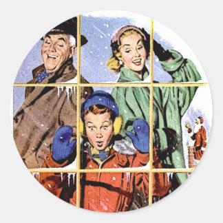 Ventana retra del navidad de los años 50 pegatinas redondas