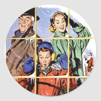 Ventana retra del navidad de los años 50 pegatina redonda