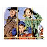 Ventana retra del navidad de los años 50 postal