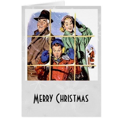 Ventana retra del navidad de los años 50 tarjeta