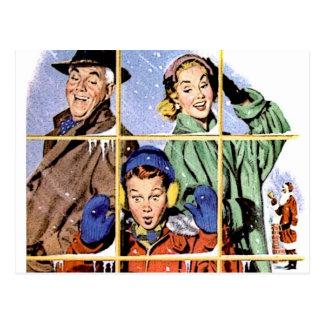 Ventana retra del navidad de los años 50 tarjetas postales