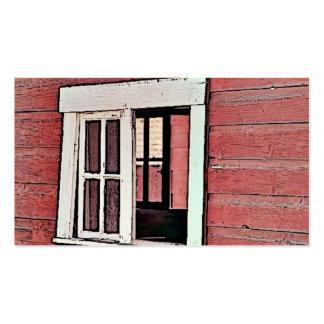 Ventana roja del granero tarjetas de visita