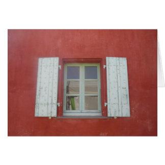 ventana roja tarjeta de felicitación