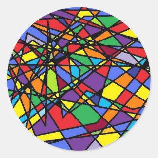 Ventana rota arte del vitral pegatina redonda