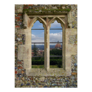 Ventana vieja de la iglesia impresiones