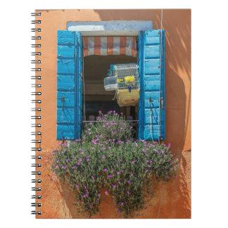 Ventana y cuaderno del birdcage