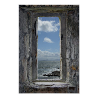 Ventana y paisaje marino del castillo poster