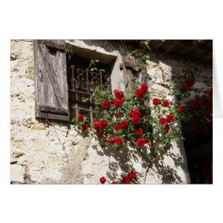 Ventana y rosas tarjeta pequeña