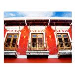 Ventanas coloridas del balcón de San Juan, Puerto  Tarjetas Postales