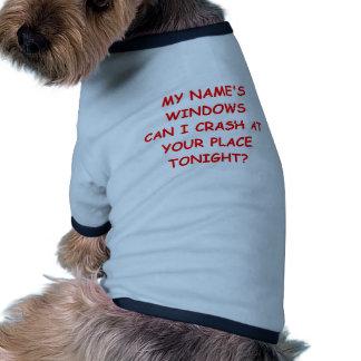 ventanas camiseta con mangas para perro