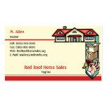 Ventas de casas rojas del tejado plantillas de tarjeta de negocio