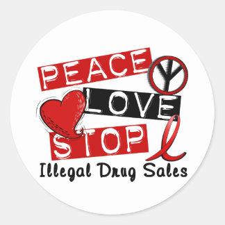 Ventas de la droga ilegal de la parada del amor de pegatina redonda