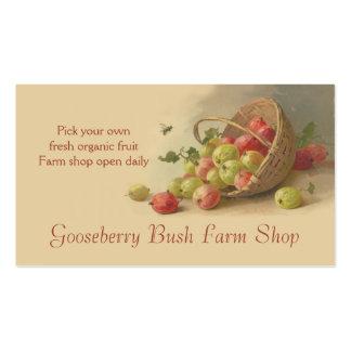 Ventas de la fruta de las peras de las grosellas e tarjetas de visita
