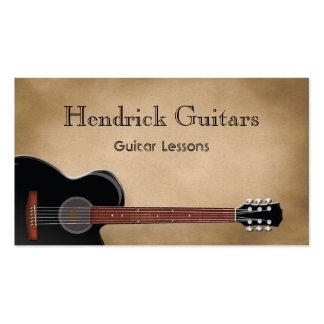 Ventas de la guitarra de las lecciones de la guita plantilla de tarjeta de visita