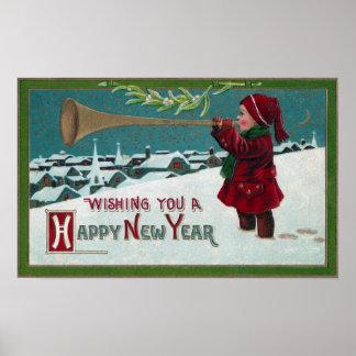 Ventilador del cuerno del Año Nuevo Posters