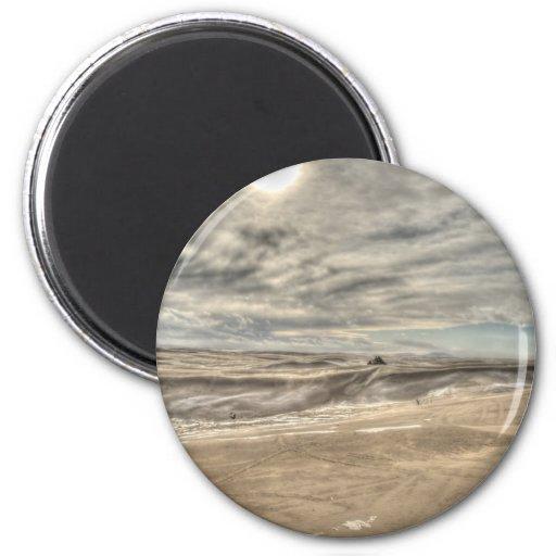 Ventisca en las dunas imán redondo 5 cm
