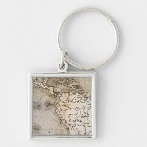 Vents Amerique Silver-Colored Square Keychain