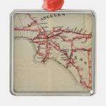 Ventura, Los Ángeles, San Bernardino, naranja Adorno Cuadrado Plateado