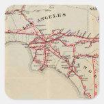 Ventura, Los Ángeles, San Bernardino, naranja Pegatina Cuadrada