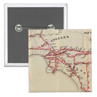Ventura, Los Ángeles, San Bernardino, naranja Pin Cuadrada 5 Cm