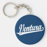 Ventura script logo in white keychain