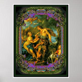 Venus, Adonis y Cupid Póster
