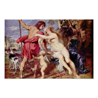 Venus And Adonis By Rubens Peter Paul Poster