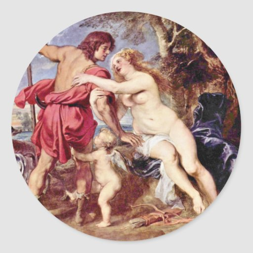 Venus And Adonis By Rubens Peter Paul Round Stickers