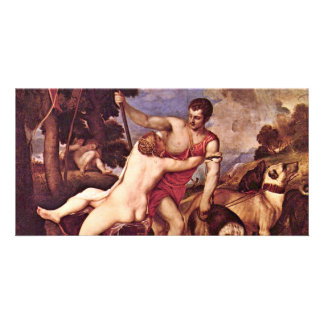 Venus And Adonis,  By Tizian (Best Quality) Photo Card Template