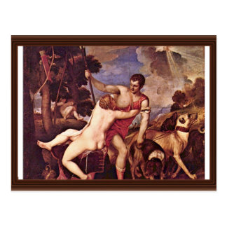 Venus And Adonis,  By Tizian (Best Quality) Postcard