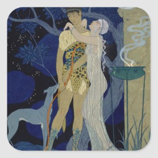 Venus and Adonis (colour litho) Square Stickers