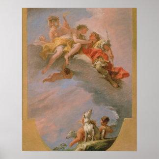 Venus and Adonis (oil on canvas) Print