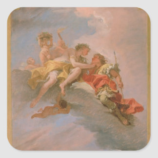Venus and Adonis (oil on canvas) Square Sticker