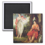 Venus and Anchises, 1826 (oil on canvas) 2 Inch Square Magnet