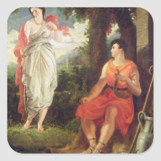Venus and Anchises, 1826 (oil on canvas) Square Sticker