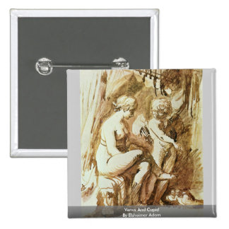 Venus And Cupid By Elsheimer Adam 2 Inch Square Button