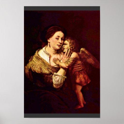 Venus And Cupid. By School Of Rembrandt Print