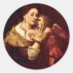 Venus And Cupid. By School Of Rembrandt Round Sticker